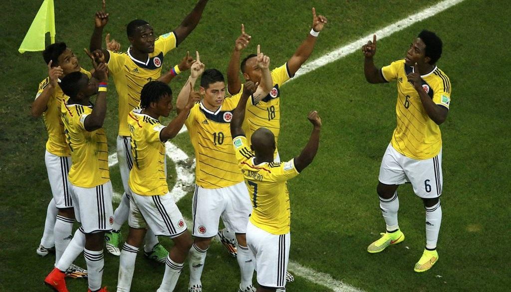 colombianos celebrando un gol