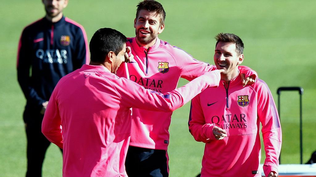 Messi Pique y Luis Suarez