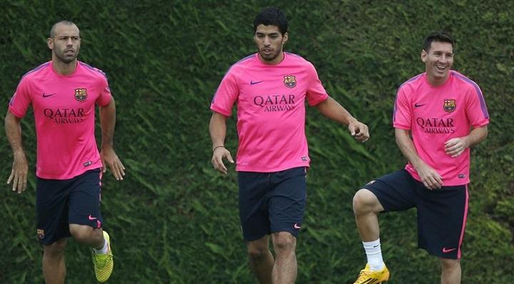 Mascherano Messi y Luis Suarez