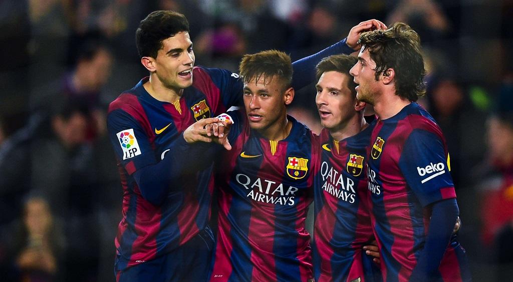 Bartra Neymar Messi y Sergi Roberto