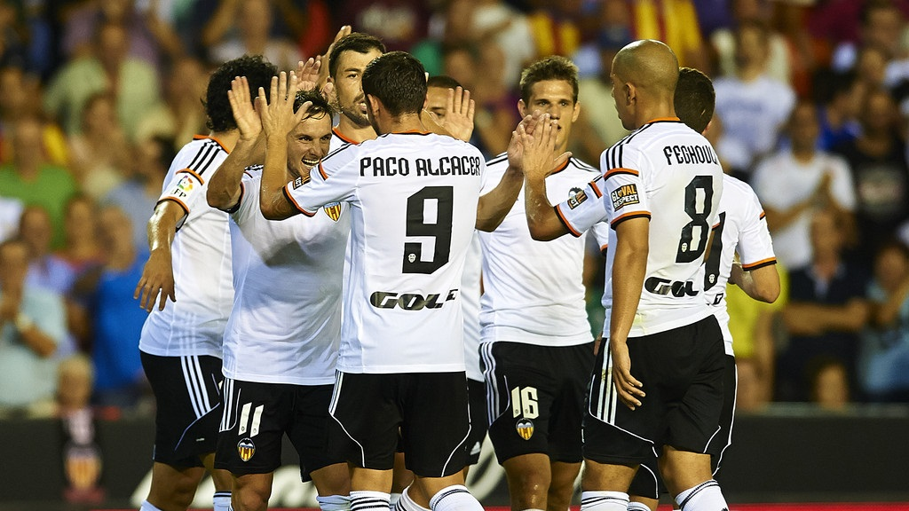 Valencia celebrando un gol