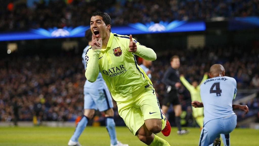 Luis Suárez celebrando su primer gol