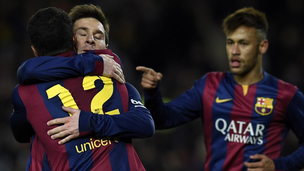 Messi, Rafinha y Neymar celebrando un gol