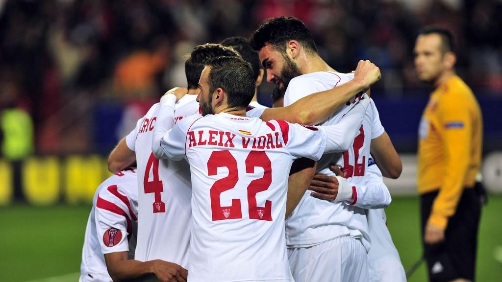 Sevilla celebrando un gol