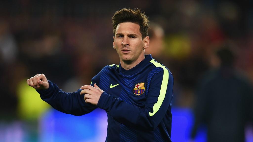 Leo Messi calentando