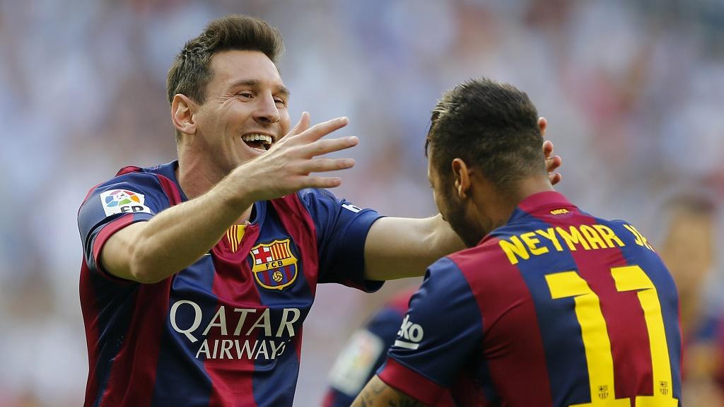 Messi y Neymar felices