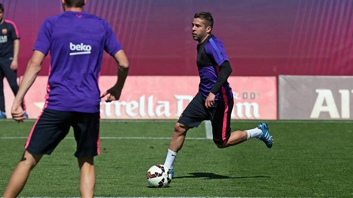 Jordi Alba en un entrenamiento
