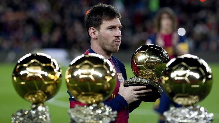 Messi con sus cuatro Balones de Oro