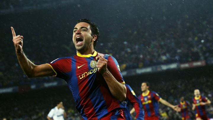 Xavi Hernandez celebrando un gol