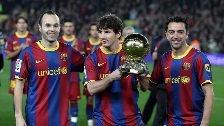 Iniesta Messi y Xavi