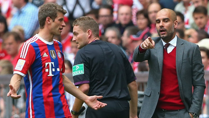 Pep Guardiola y Thomas Muller