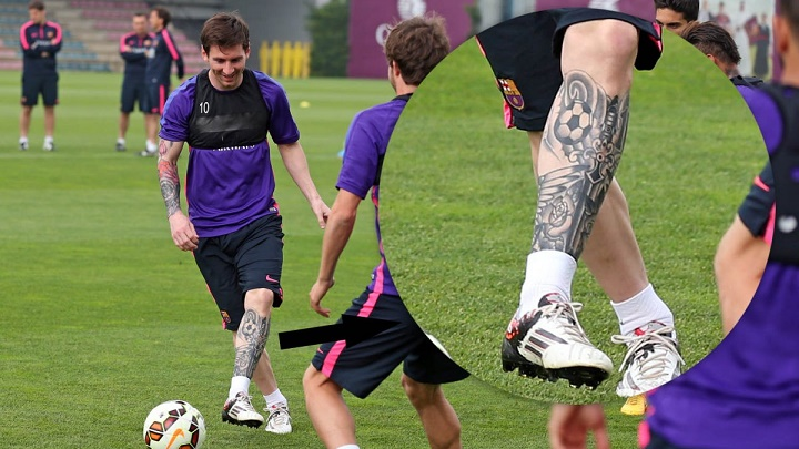 Leo Messi tatuaje pierna