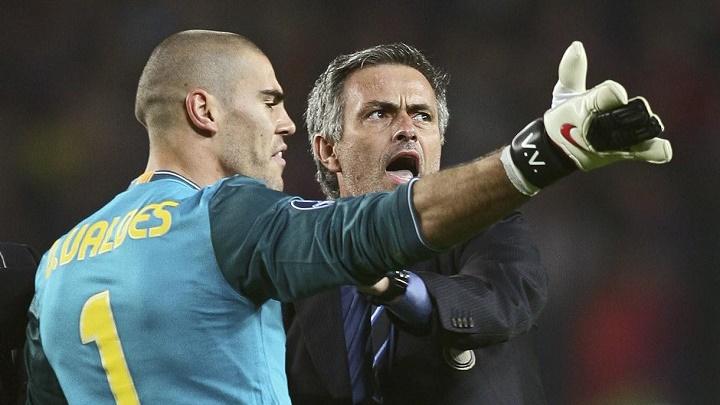 Valdes y Mourinho