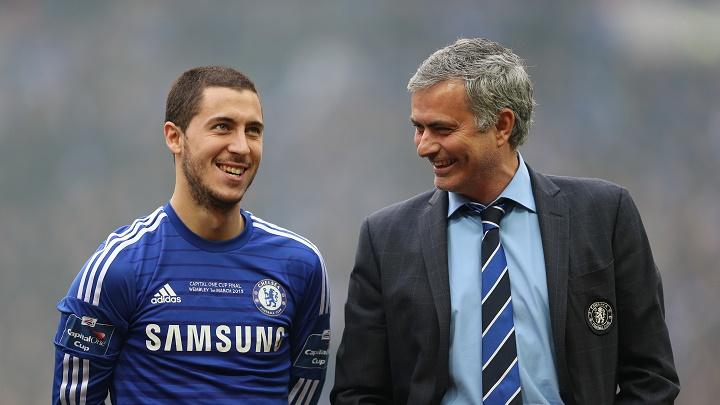 Eden Hazard y Jose Mourinho