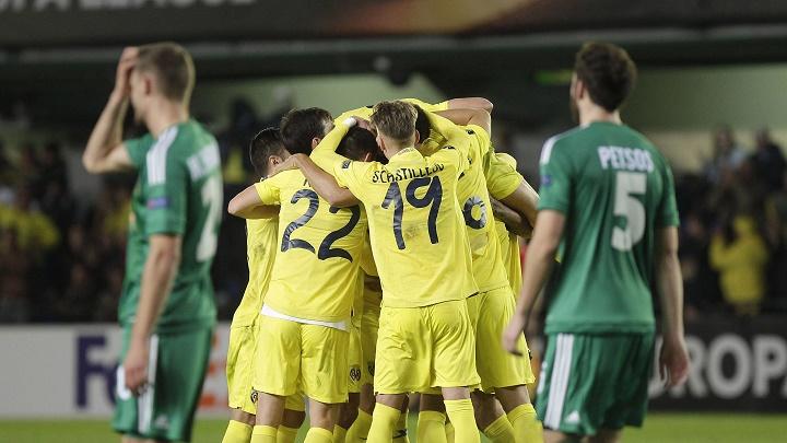 Jugadores Villarreal celebrando un gol