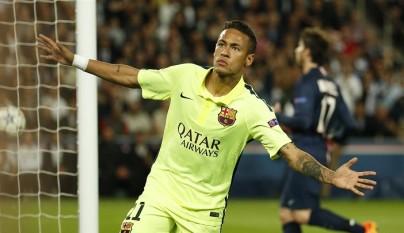 Neymar celebrando un gol al PSG