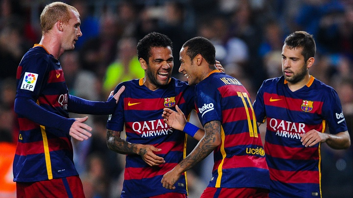 Alves, Neymar, Mathieu y Jordi Alba