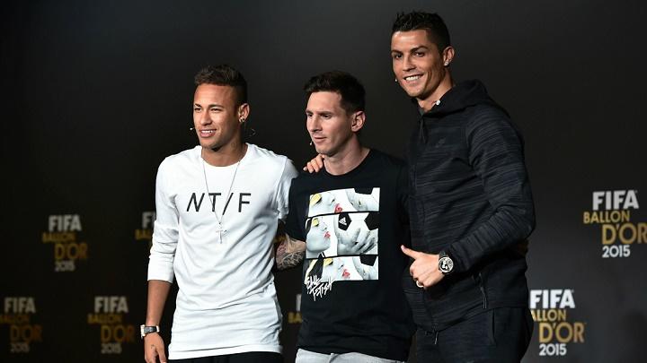 Neymar Messi y Cristiano