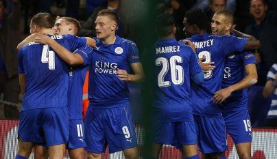 Leicester City celebrando un gol